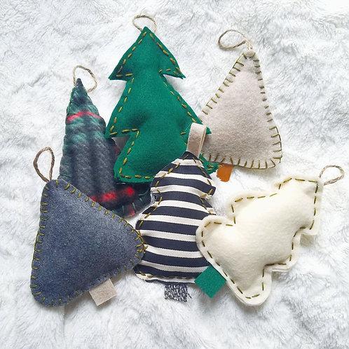 Rustic Cloth Tree Ornaments (Set of 10)