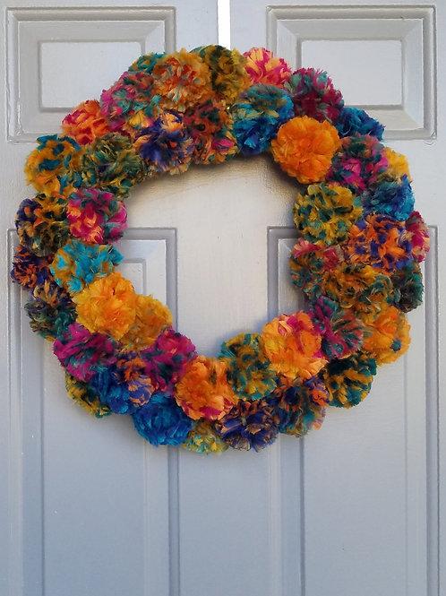"""Handmade Pom Pom Wreath-""""Merry + Bright"""""""