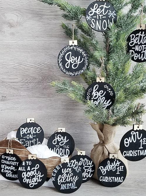 Chalkboard Lettered Ornament