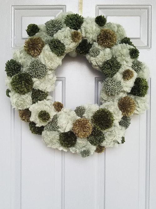 """Handmade Pom Pom Wreath-""""Evergreen"""""""