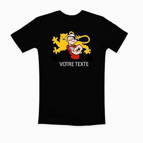 TEE-SHIRT NOIR MARIN NORMAND TEXTE AU CHOIX  / CLASSIQUE/ FEMME / ENFANT