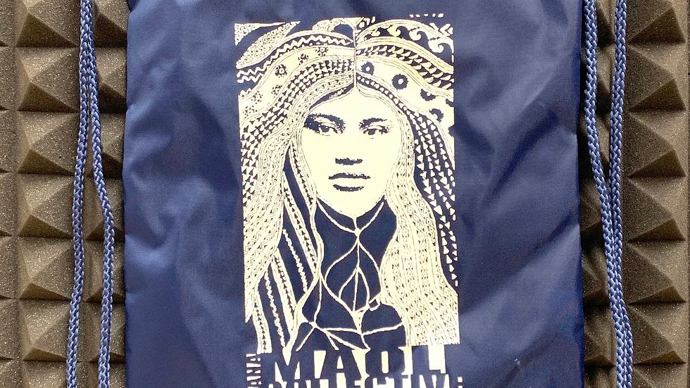 Mana Maoli Navy Blue Nylon Draw String Bag