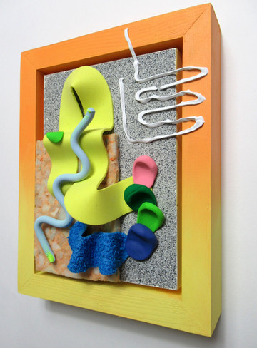 Yellow Flop, Wood, acrylic, fabric, clay, and foam, 22 x 18 x 5cm