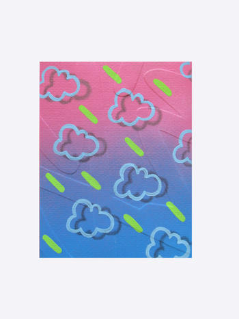 Embossed series - Acid Clouds, acrylic on watercolour paper, 17 x 14cm