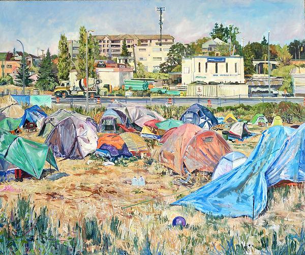 Camp Namegans.  Oil on canvas. 60x72 inc