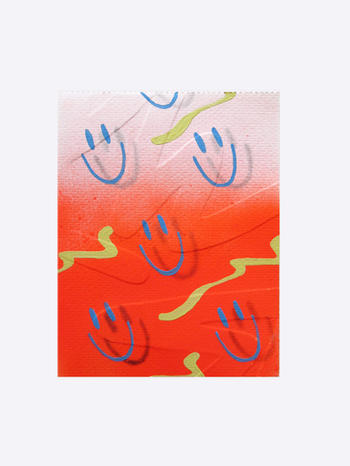 Embossed Series - Happy Face,  acrylic on watercolour paper, 17 x 14cm