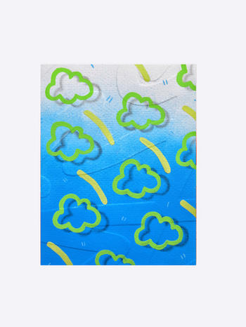 Embossed series - Clouds II, acrylic on watercolour paper,  17 x 14cm