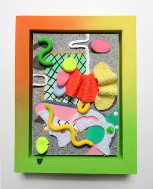 Tropics, Wood, acrylic, fabric, clay, and foam, 22 x 18 x 5cm