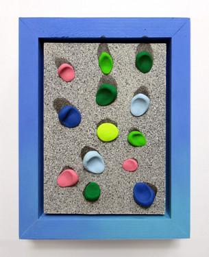 Flicker Gum, Wood, acrylic, fabric, clay, and foam, 22 x 18 x 5cm