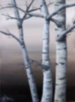 Birch trees acrylic painting 9 x 12 inches