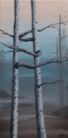 acrylic paintingof birch trees