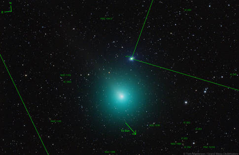 Comet 46P/Wirtanen (Comet and Star Stack, Annotated)