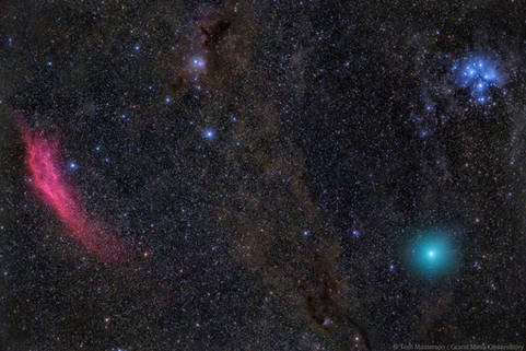 The Fiery Red California Nebula, Deep Blue Pleiades and a Green Comet 46P Wirtanen