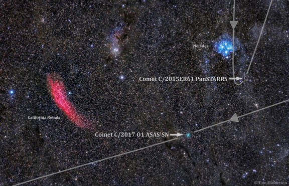 Two Comets Pass by The Dusty Pleiades and the Fiery California Nebula  (with labels)