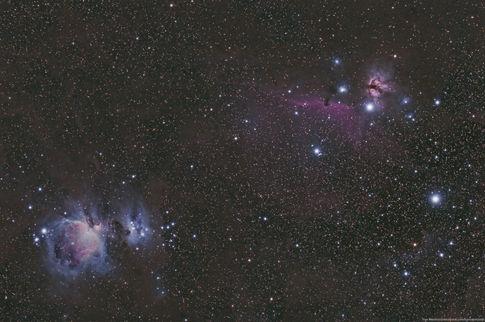 Orion Nebula (M42), Horse Head (Barnard 33), and Flame Nebula (NGC 2024) Wide Field 1/25/2015