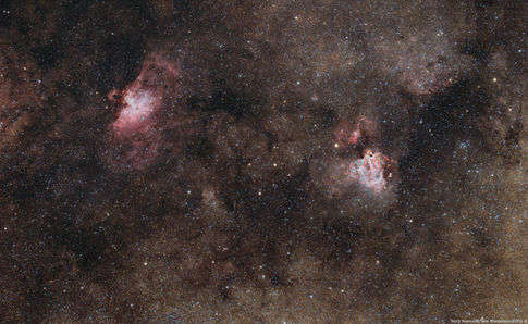 The Eagle and Omega Nebulae M16 and M17 (Terry Hancock/Tom Masterson/POSS-II)
