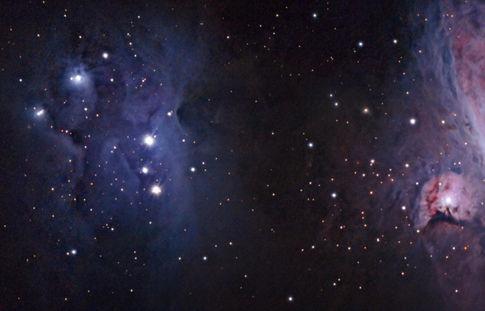 The Running Man Nebula (NGC 1973/5/7) and De Mairan's Nebula (Messier 43) Reprocess