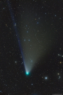 Comet NEOWISE Passing by Globular Clusters M53 and NGC5053