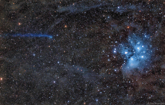The Blue Comet Meets the Blue Sisters APOD 2/12/2018