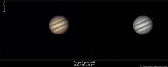 Europa, Jupiter and Io 12/19/2015 4:49 PST