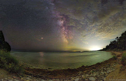 Mars and The Milky Way Above Whitefish Dunes State Park, WI