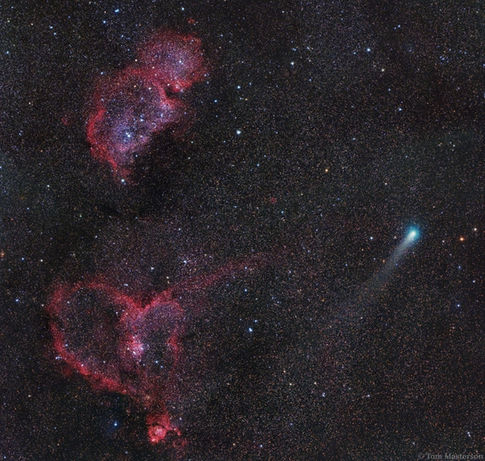 Comet 21P/Giacobini-Zinner Visits the Heart And Soul Nebulae