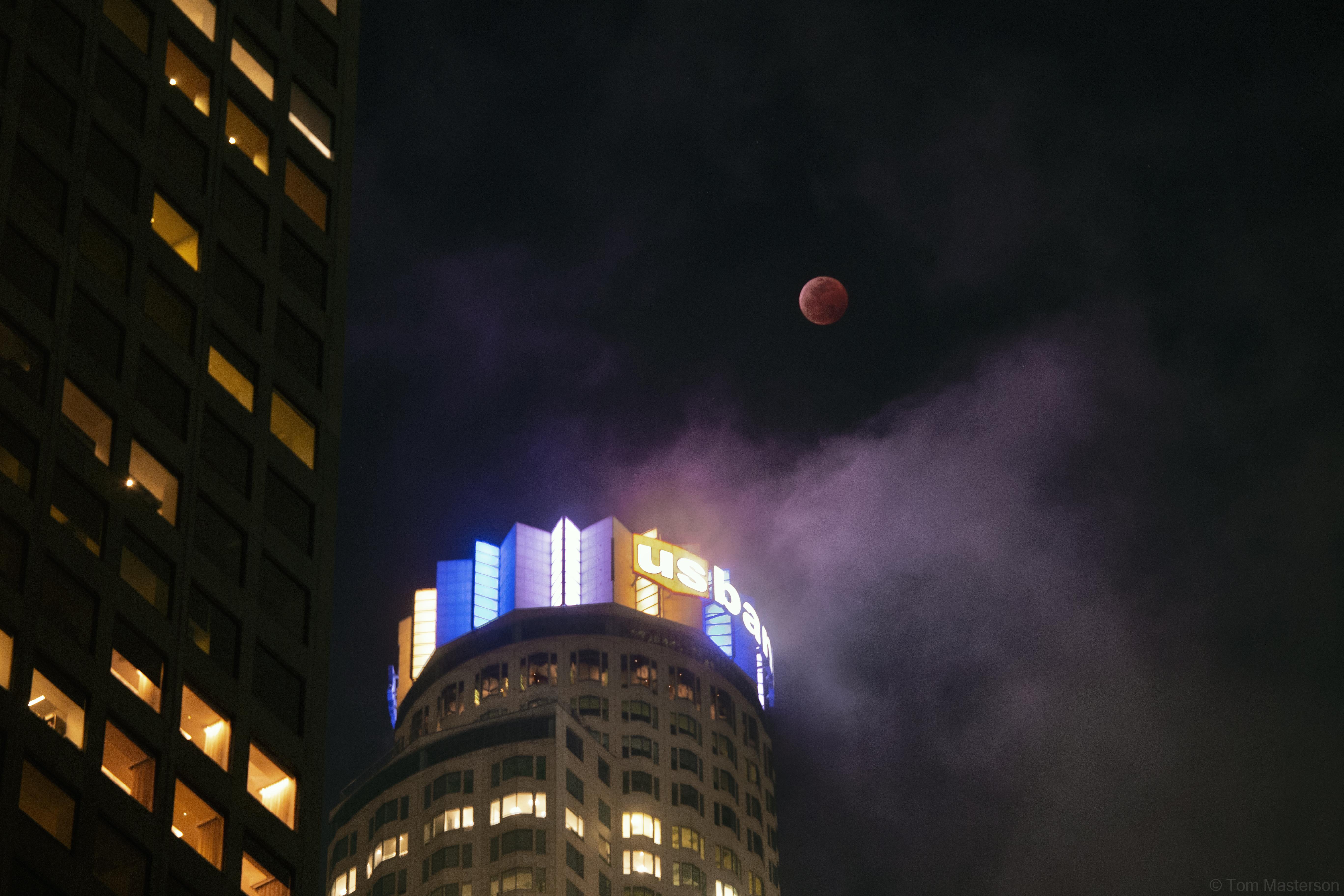 Lunar Eclipse over DTLA 1/20/2019