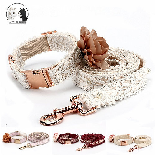 Lace Dog Collar Set Fashion Flowers Puppy Collar