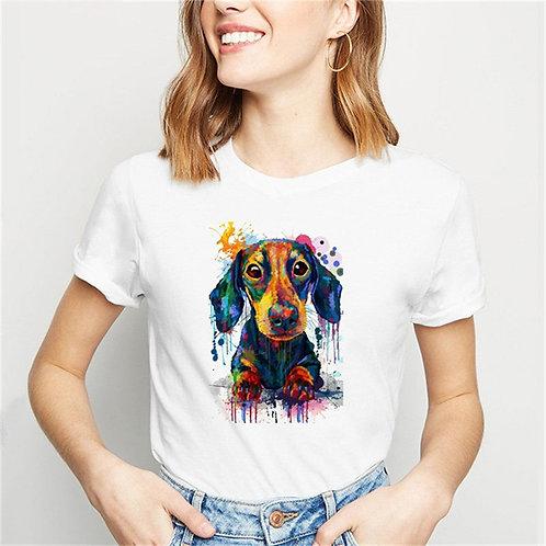Woofy T-Shirt Dog Lovers Tshirt Top Tee Female
