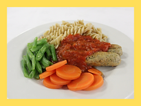 Veg Sausages in Tomato Sauce with Pasta.