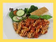 Pasta in Tomato Sauce with Garlic Bread.