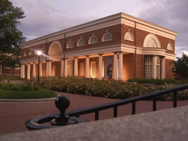 Picture shows a small library on the University of Virginia campus where some courses have been offered.