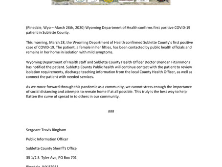 Sublette County First Positive COVID-19 Case - 03/28/2020