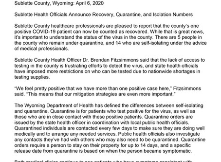 Sublette Health Officials Announce Recovery, Quarantine, and Isolation Numbers - 04/06/2020