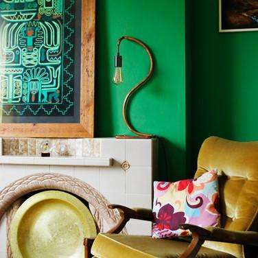 Swan lamp in green colour scheme