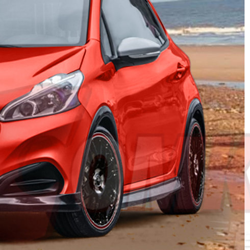 Peugeot 208 Body Kit. Wheel arch trims, styling for GTi. Car.