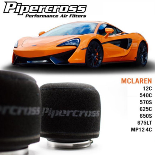Air filter for cars. Pipercross Brand, Part Number PX1983. Fits MCLAREN 12C 540C 570S 625C 650S 675LT MP12-4C