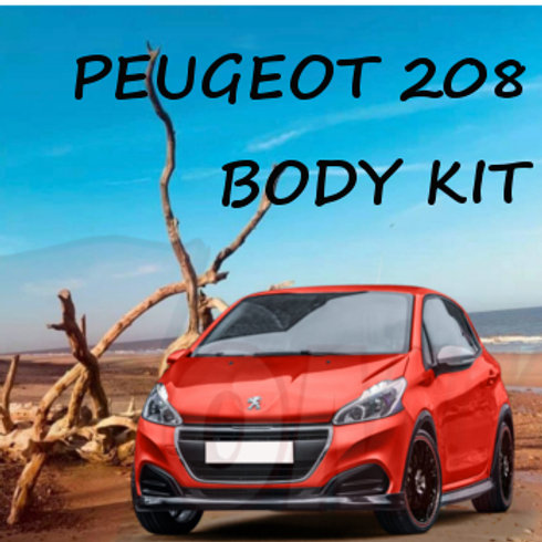 Peugeot 208 GTi Body Kit. Car styling. Front Splitter, rear diffusser, side skirts & wheel arch trims.