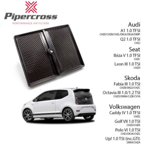 Car air filter. Pipercross Brand, Part Number PP2000. Fits Audi A1, Q2, 1 Litre TFSI.  SEAT Ibiza Mark 5, Leon Mark 3 & Skoda