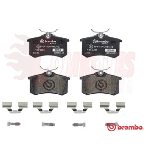 Rear brake pads for cars. Brembo part number P 85 020X. Fits Citroen DS4 1.6THP, Peugeot, Skoda, Audi, VW.