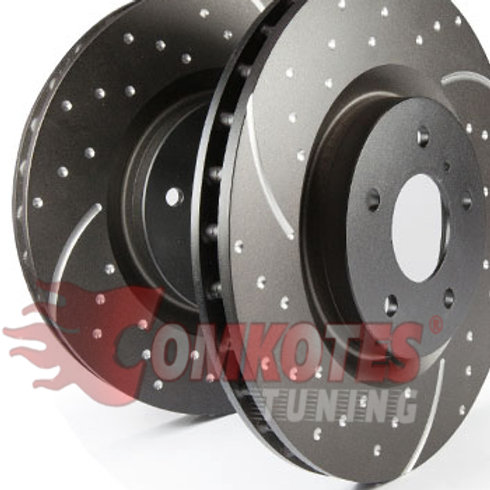 Slotted and Dimpled Front Brake Discs (Pair) to fit Clio RS MK4 200 by EBC