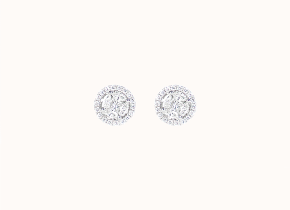 """Clous d'oreilles """"Pizza"""" GM cerclés diamants"""