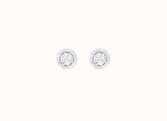"""Clous d'oreilles """"Pizza"""" MM cerclés diamants"""
