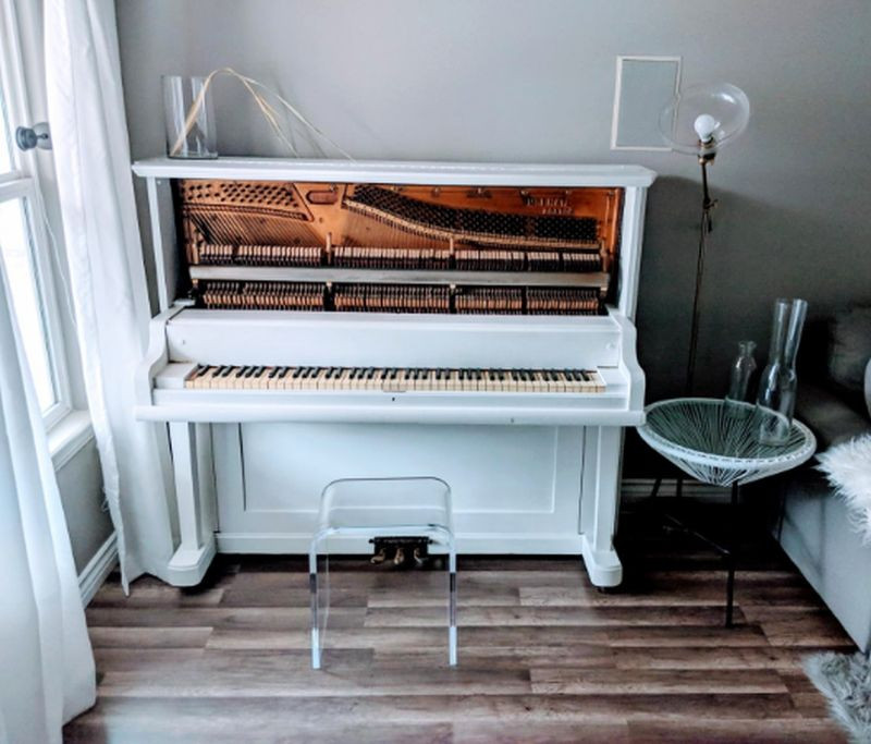 clear piano bench