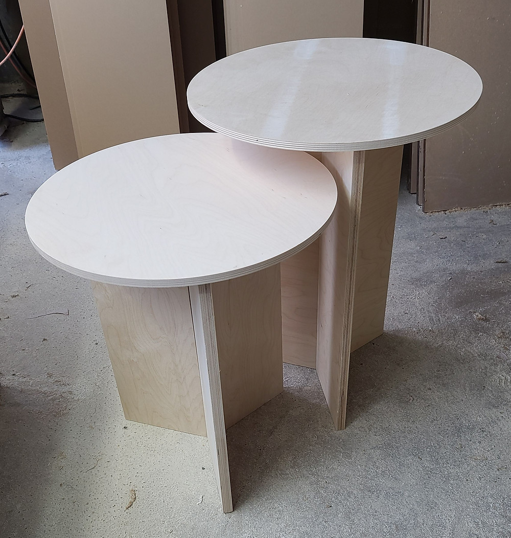 unfinished birch plywood side tables