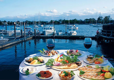 Mediterranean Seafood Restaurant with Waterfront View Outdoor Dining
