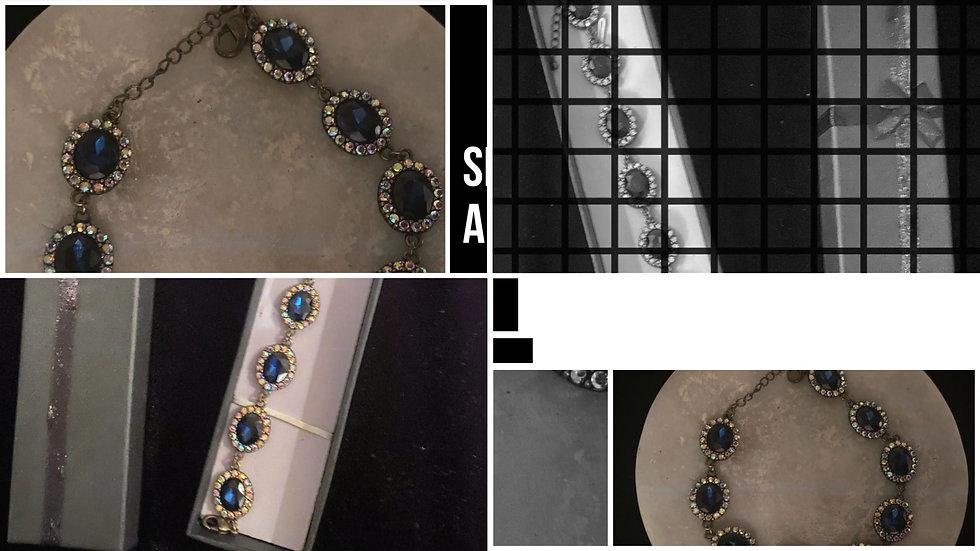 Blue Oval Rhinestone Bracelet