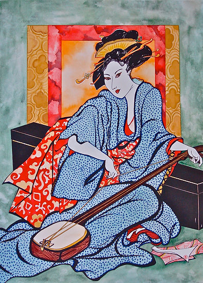 Geisha with a shamisen
