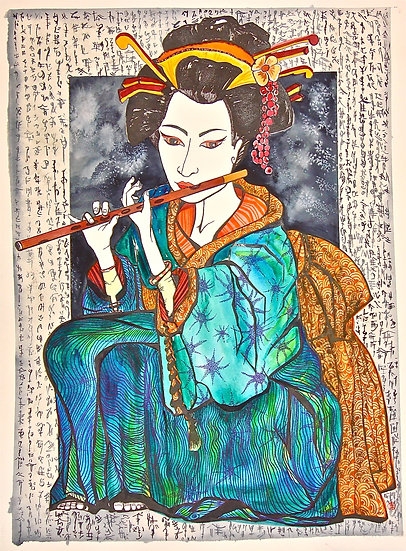 Geisha with a shakuhachi