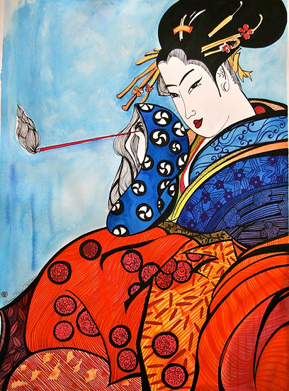 Geisha with a brush